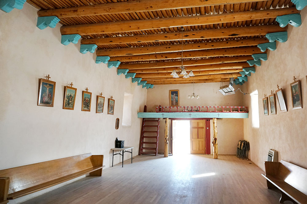 The interior of the church at Picuris Pueblo