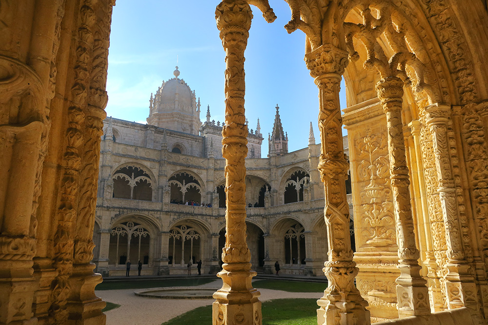 This image of Jerónimos Monastery in Lisbon, Portugal, offers a striking composition.