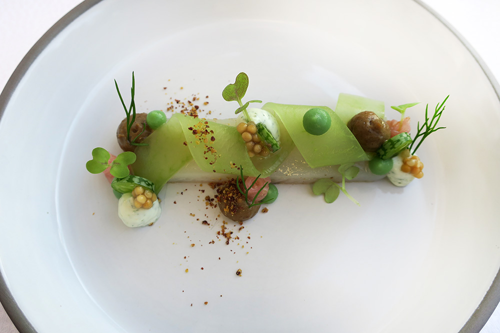 <em>Matjes</em>-style whitefish with cucumber and herbed quark from <em>Courtier</em> at Weissenhaus Grand Village Resort - Photo by Hideaway Report editor