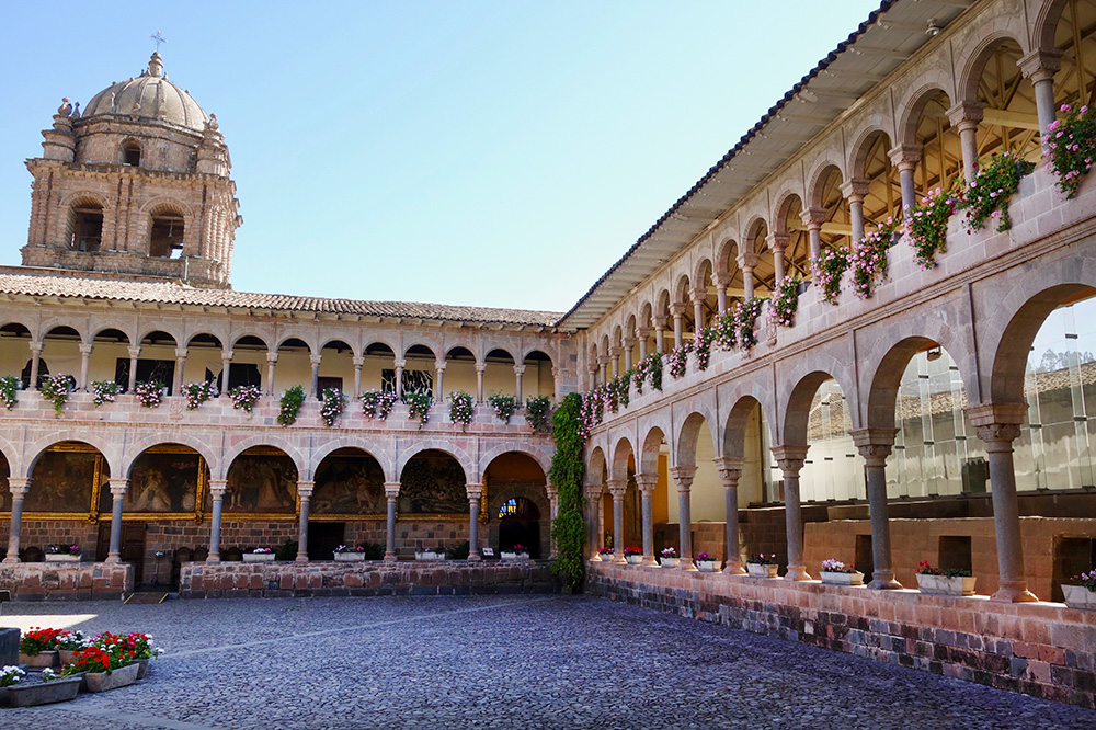 The courtyard of the Coricancha in Cusco, Peru