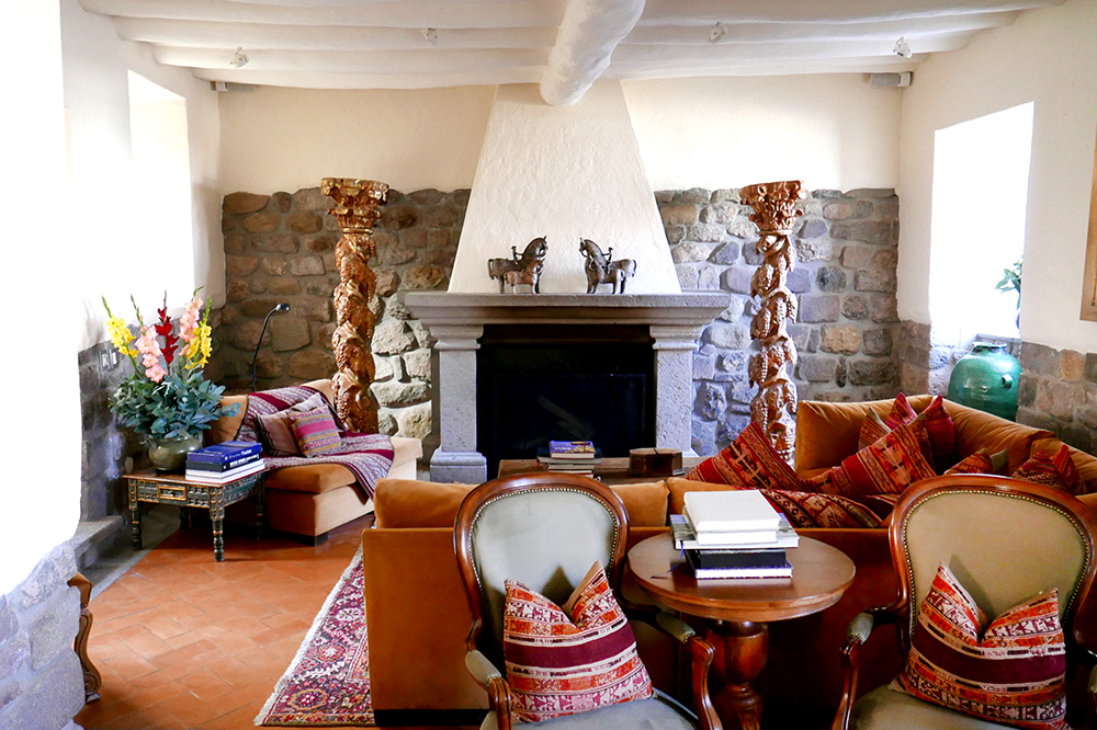 The lobby area at Inkaterra La Casona in Cusco, Peru - Photo by Hideaway Report editor