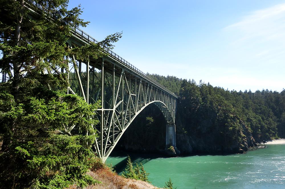 Deception Pass Bridge in Deception Pass State Park in Oak Harbor, Washington