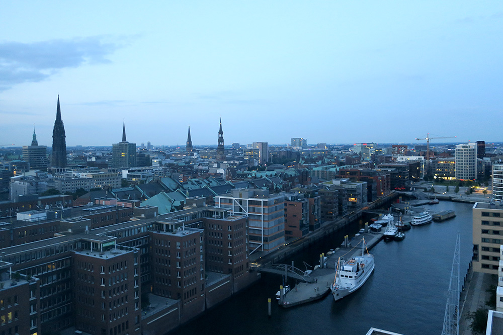 The view of Hamburg from our Elbphilharmonie Suite at The Westin Hamburg