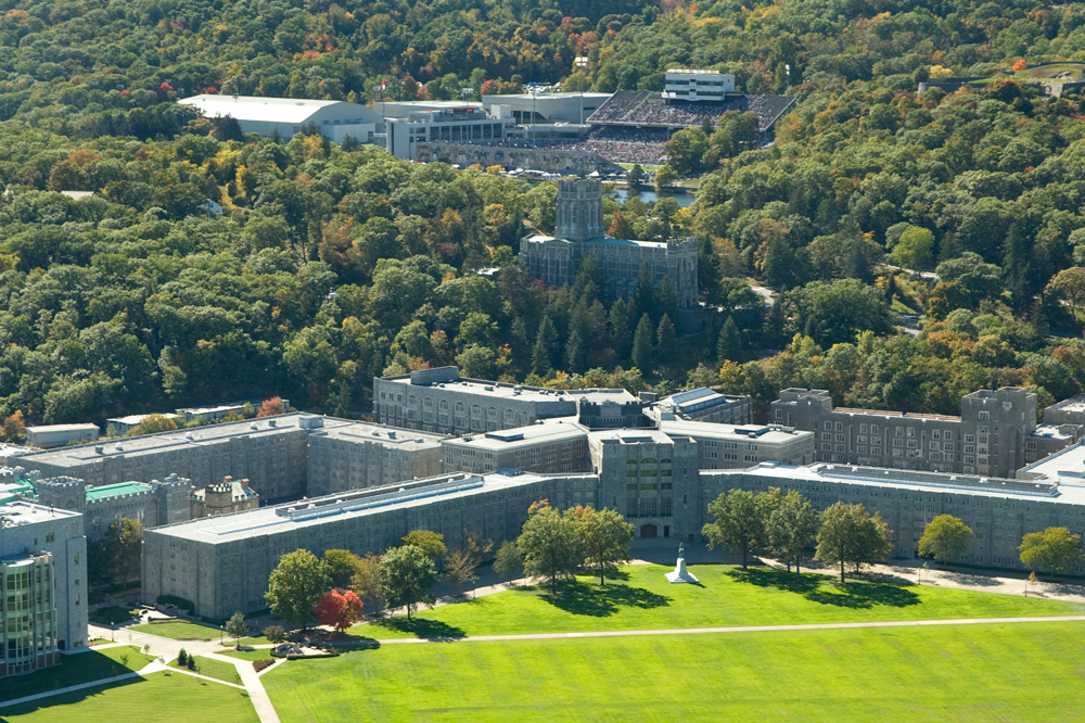 Aerial view of Washington Hall and the Cadet Chapel