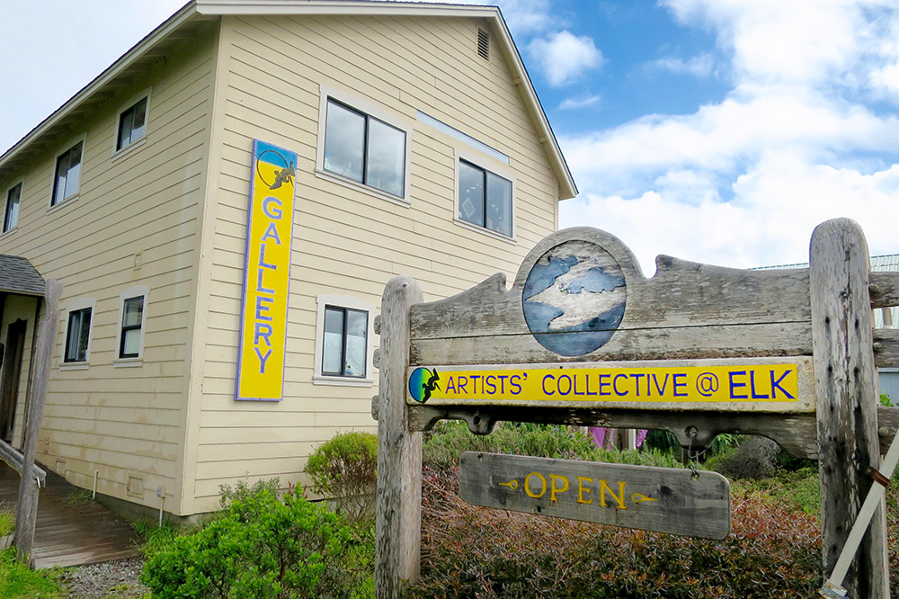 The exterior of and entrance to Artists' Collective in Elk, California