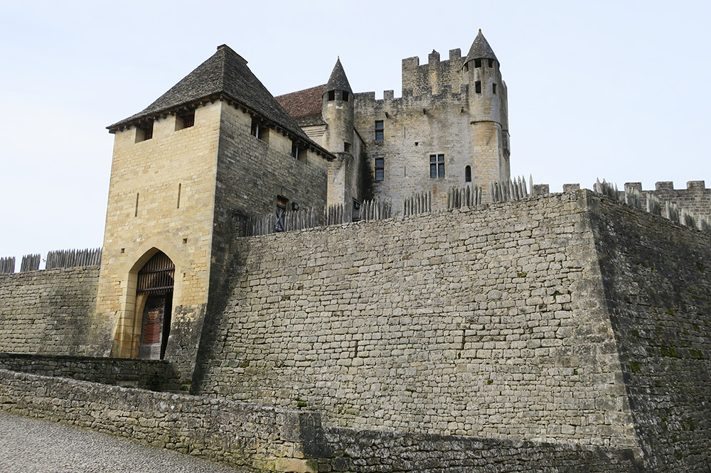 The exterior and entrance of Château de Beynac in the Dordogne, France  - Photo by Hideaway Report editor