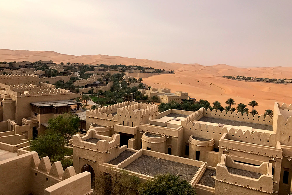 The exterior and view of the grounds at Qasr Al Sarab Desert Resort, Abu Dhabi, UAE