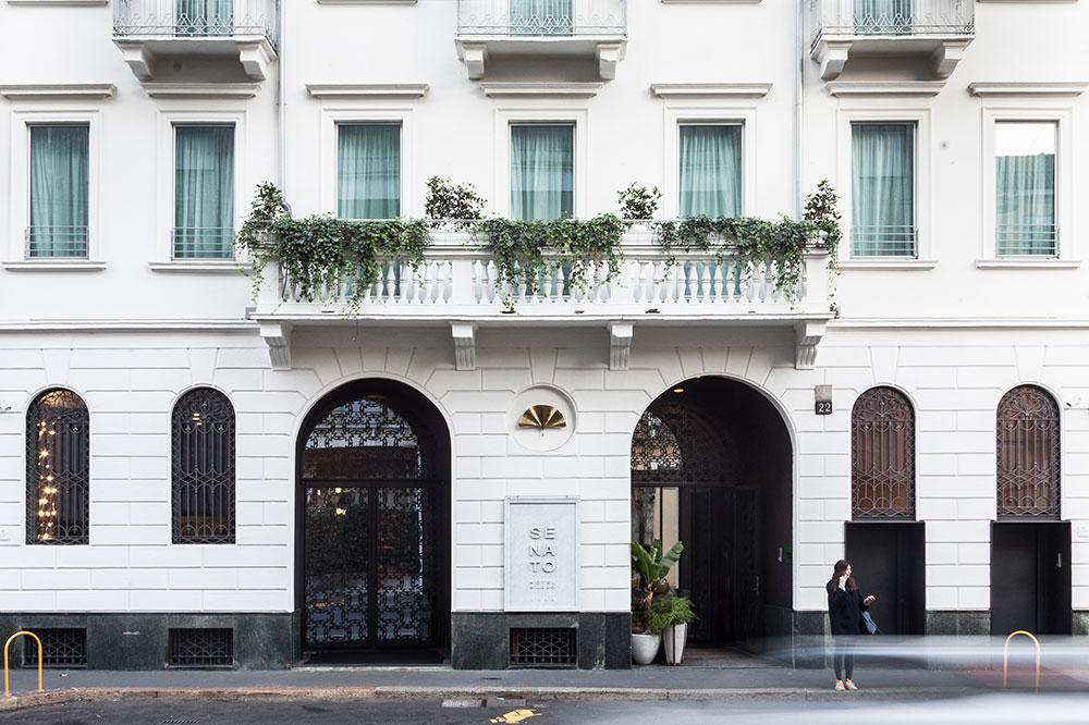 The fresh exterior of Senato Hotel Milan