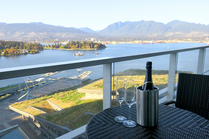 View from the balcony of our Fairmont Gold Harbour View Room at Fairmont Pacific Rim - Photo by Hideaway Report editor