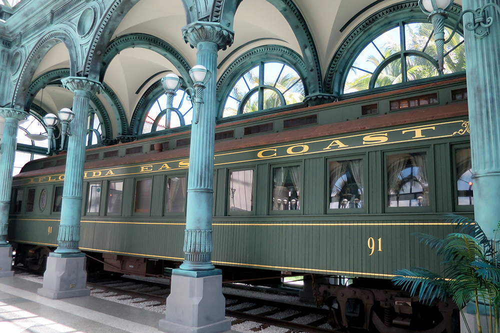 Henry Flagler's personal railcar at the Flagler Museum in Palm Beach, Florida - Photo by Hideaway Report editor