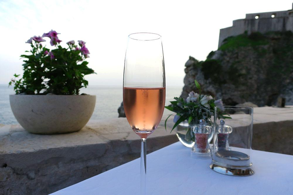 A flute of Pinot Noir sparkling rosé