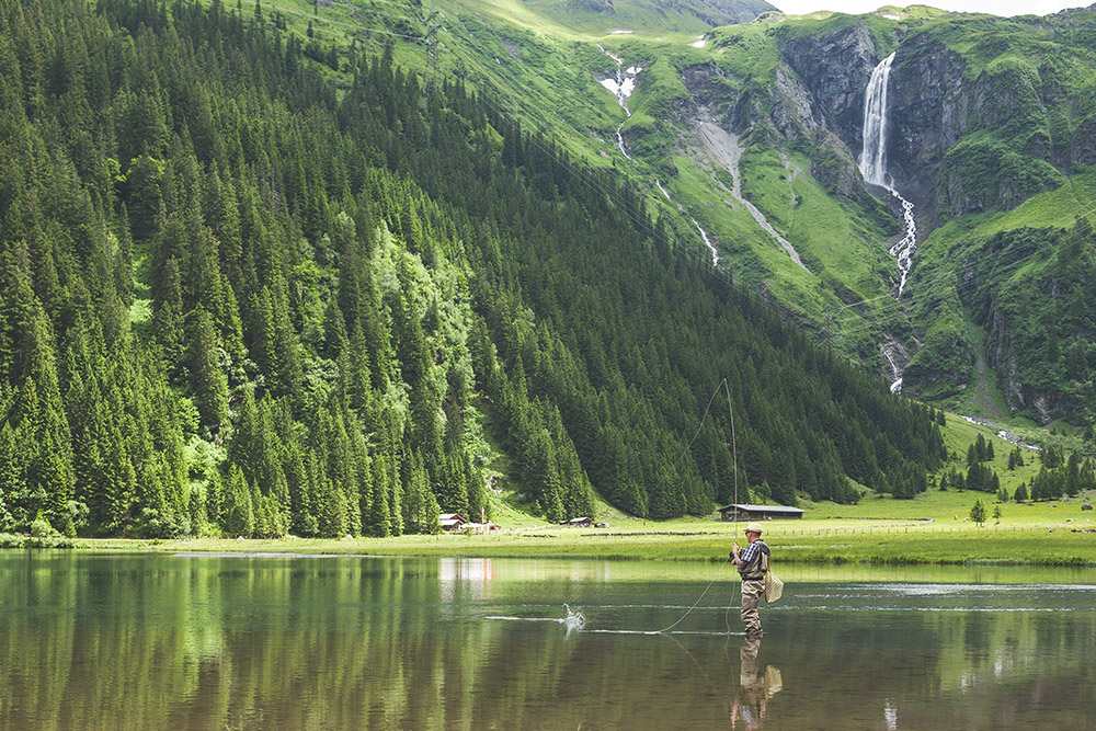 Fly-fishing in Hintersee, Austria