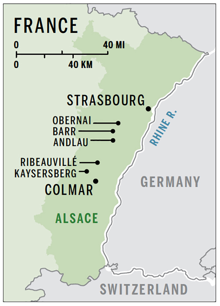 Map of Alsace region of France