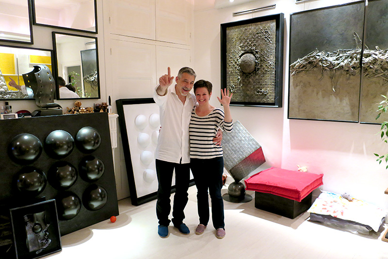 Dan and Cindy Kowalski at their studio in Dole - Photo by Hideaway Report editor