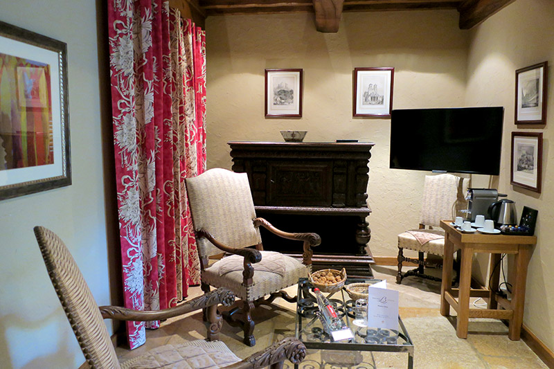 Small living room in our suite at Le Relais Bernard Loiseau - Photo by Hideaway Report editor
