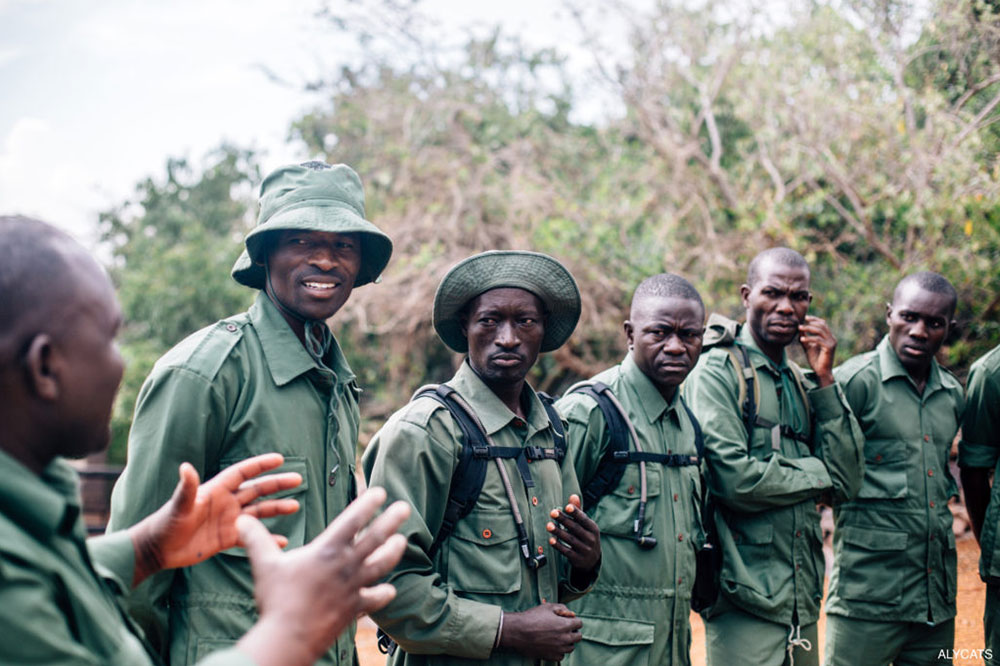 Game scouts from Singita Grumeti in Tanzania, who, along with the canine unit, work to stop poaching. Some of the lodge's 120 game scouts are reformed poachers.