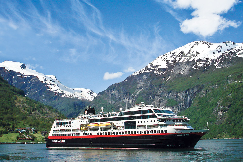MS Trollfjord in the famous Geirangerfjord