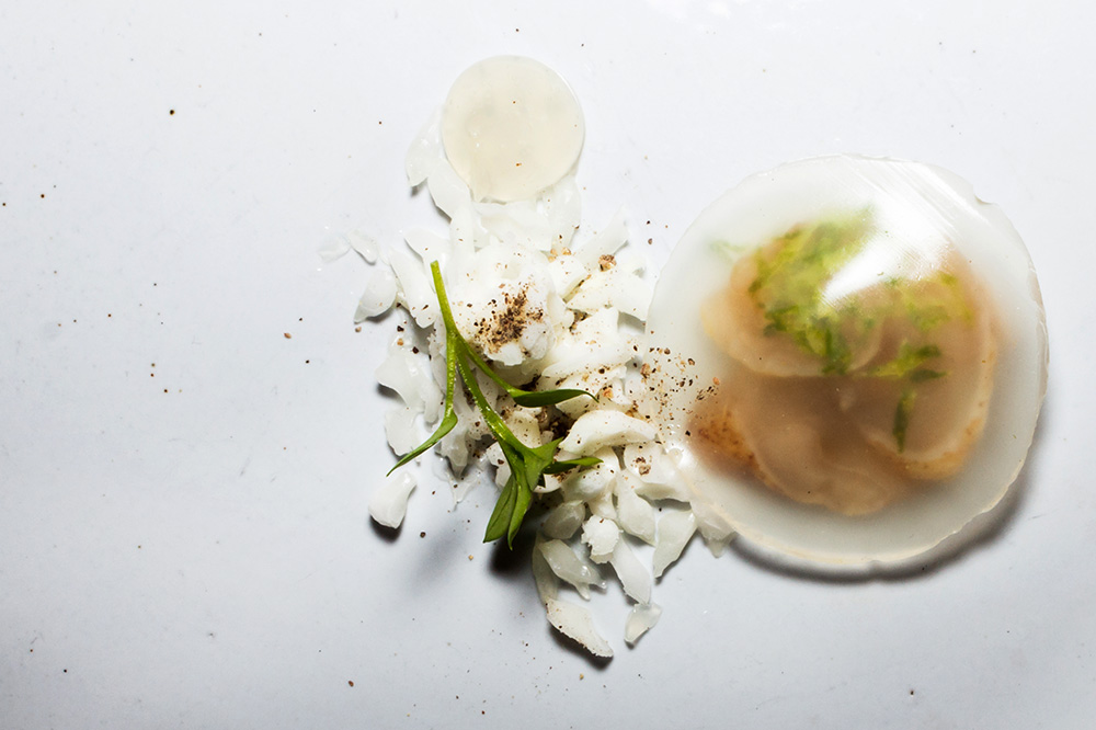 Geoduck, grapefruit, lime and chickweed from <em>Nomad.PDX</em> in Portland, Oregon