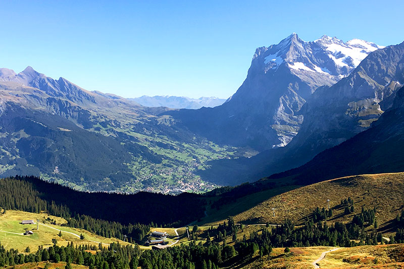 View of Grindelwald valley and the Wetterhorn from Kleine Scheidegg - Photo by Hideaway Report editor