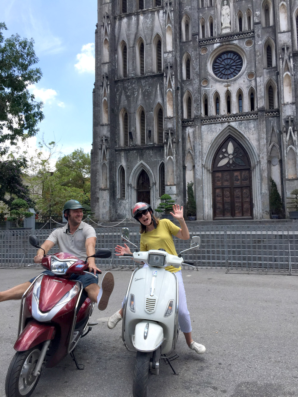 Taking a break during the Hanoi Motorbike Street Foods tour - Kristen Remeza
