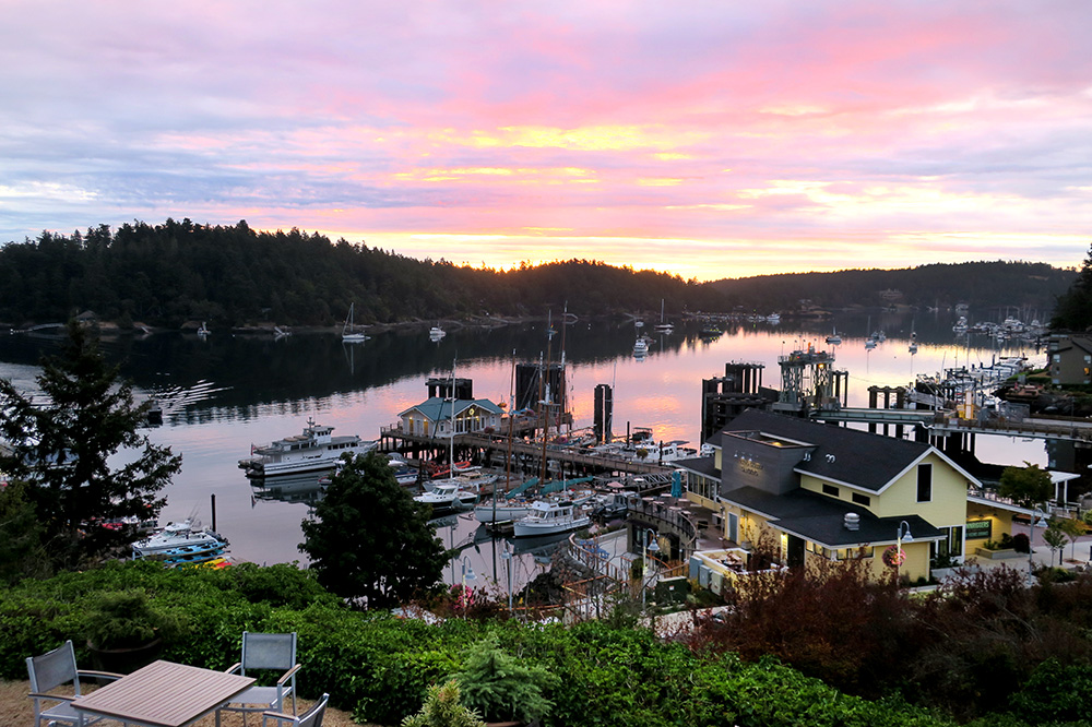 The view from our Harbor View Room at Friday Harbor House in Friday Harbor, Washington