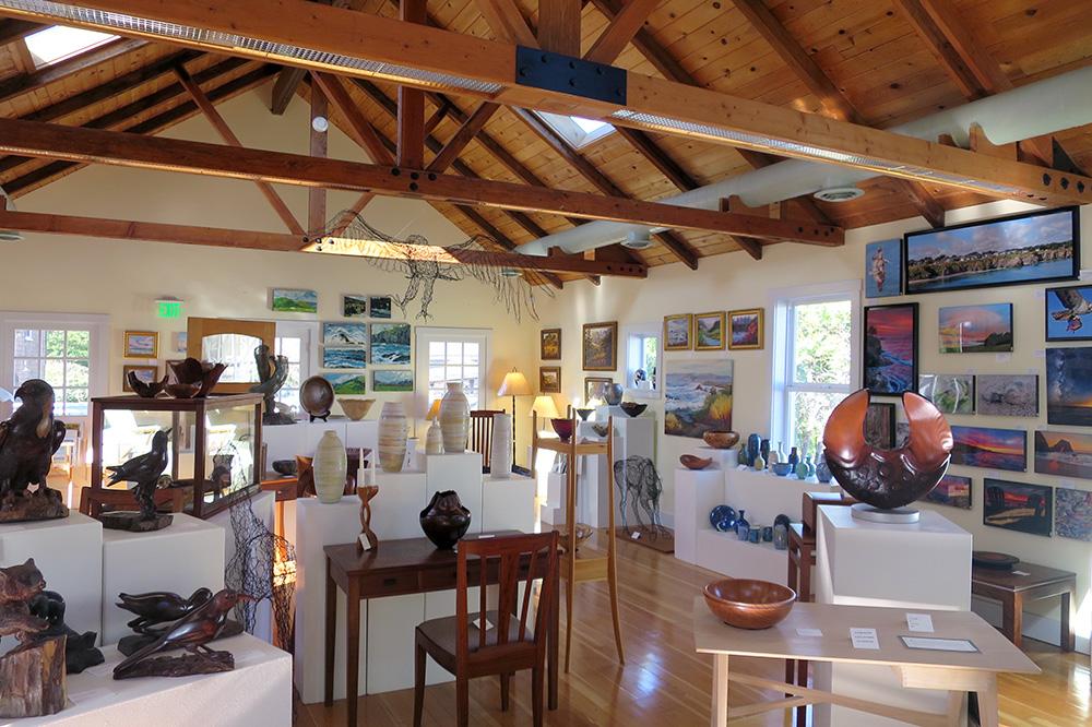 The interior of The Highlight Gallery in Mendocino, California