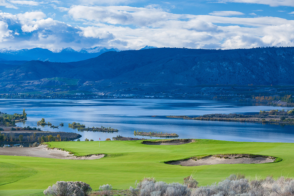The second hole of the Gamble Sands golf course in Brewster, Washington