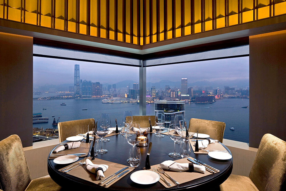 View of Hong Kong's Victoria Harbour from the dining room at <em>Café Gray Deluxe</em>