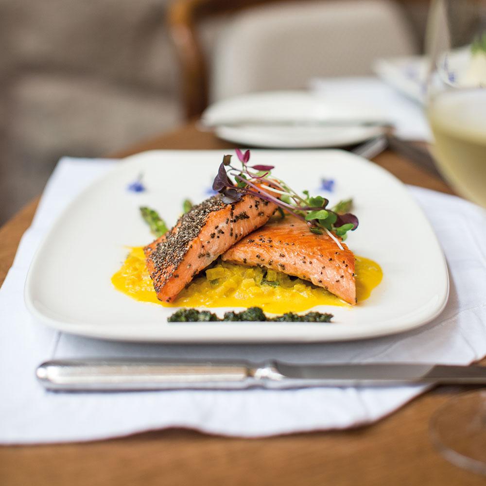 Grilled trout fillet with chia seed crust at <em>Tampu Restaurant</em> at Belmond Sanctuary Lodge in Machu Picchu, Peru