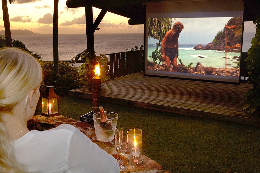 The al fresco cinema at Guana Island in the British Virgin Islands