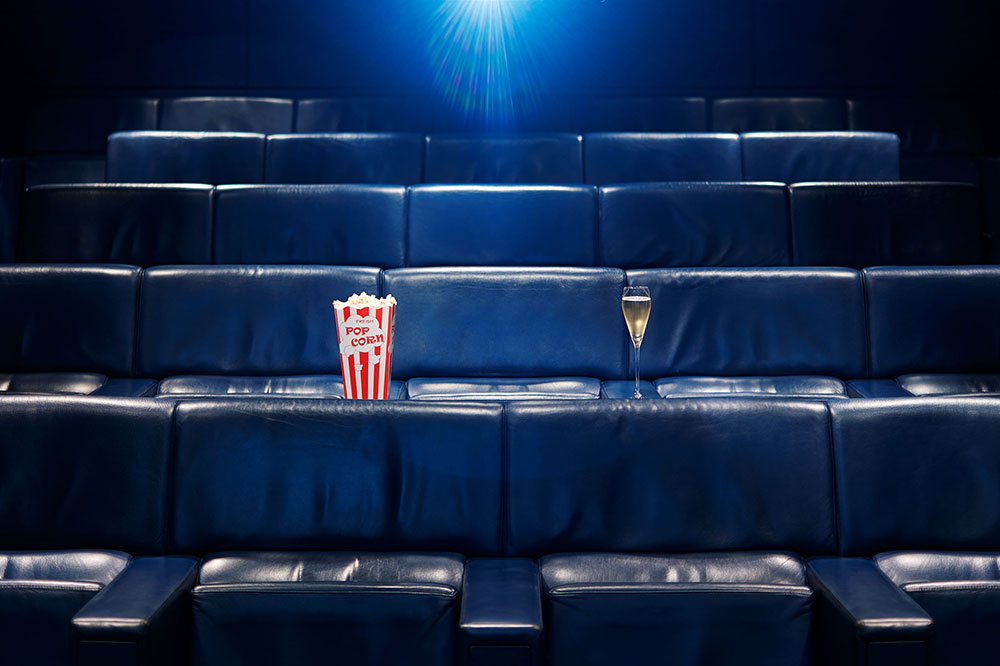 The cinema at One Aldwych in London, England, where film buffs can enjoy Champagne