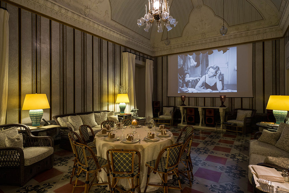 The intimate Salon cinema at Palazzo Margherita in Bernalda, Italy