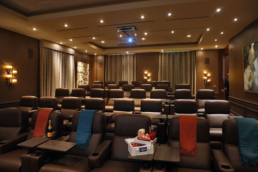 The Screening Room at Four Seasons Los Angeles at Beverly Hills, where moviegoers can also eat gourmet food