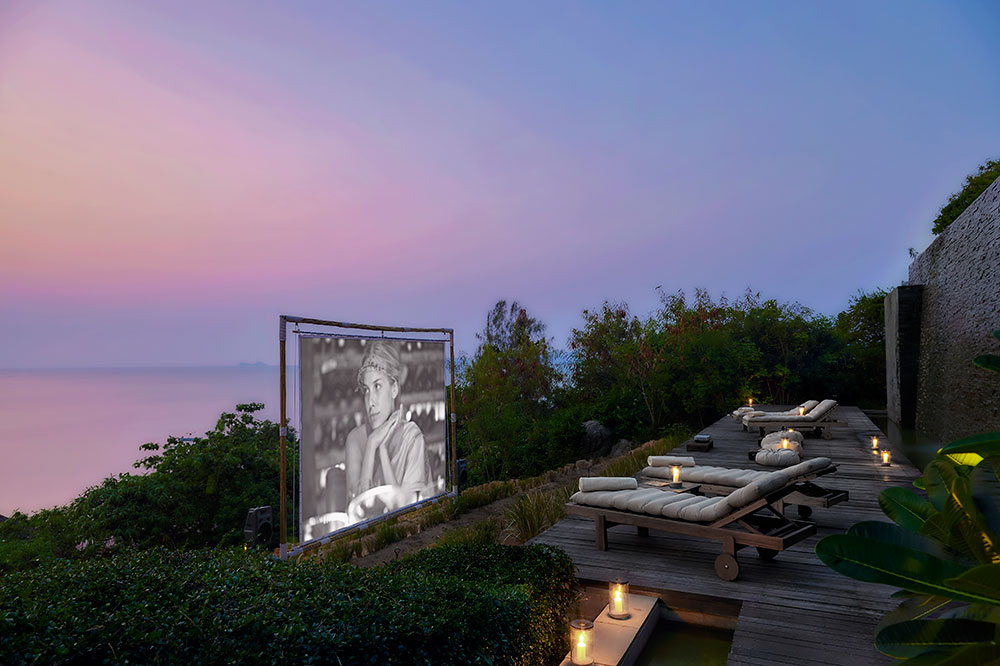 The intimate outdoor cinema at Six Senses Samui on Samui Island, Thailand