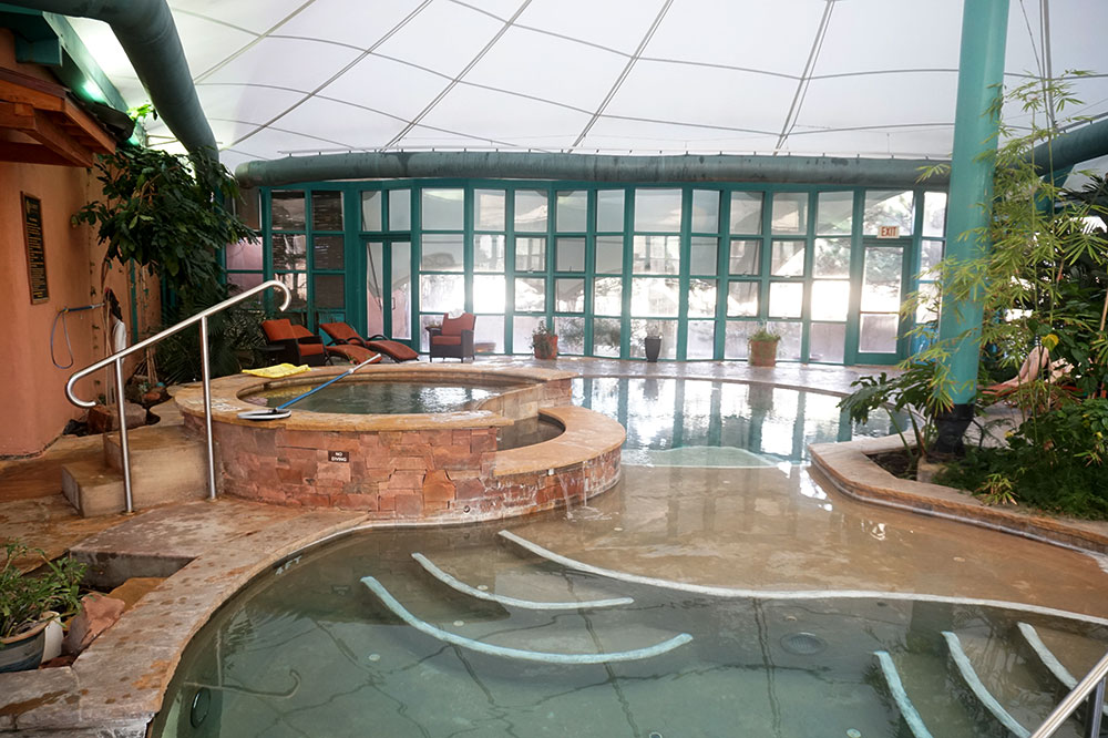 The indoor pool and saltwater hot tub at El Monte Sagrado in Taos