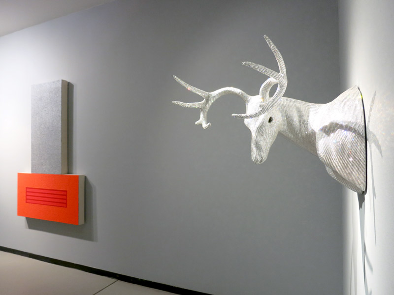 Marc Swanson's sculpture of a mounted deer head covered in Swarovski crystals at Baldwin Gallery - Photo by Hideaway Report editor
