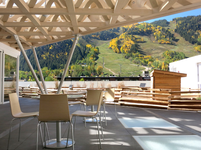 The mountainview roof terrace at the Aspen Art Museum - Photo by Hideaway Report editor