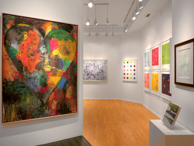 "Collection including Damien Hirst's ""Love Poems"" and Jim Dine's untitled heart painting at Galerie Maximillian - Photo by Hideaway Report editor"