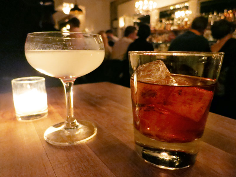 Boulevardier and Aviation cocktails at <em>Maude's Liquor Bar</em> - Photo by Hideaway Report editor