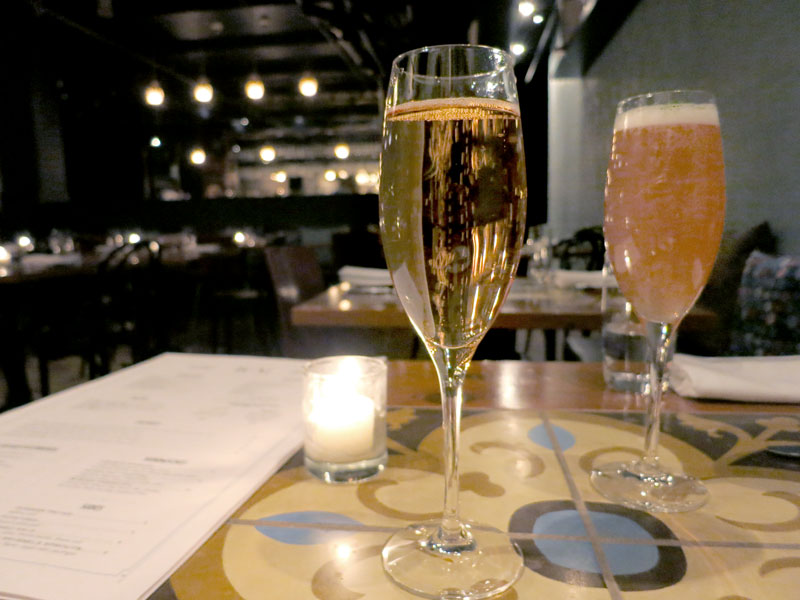 "Thiénot Brut Rosé and a ""Le Drapage"" cocktail at <em>RM Champagne Salon</em> - Photo by Hideaway Report editor"