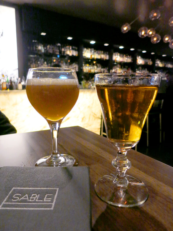 """Park Slope"" and ""War of the Roses"" cocktails at <em>Sable Kitchen & Bar </em>- Photo by Hideaway Report editor"