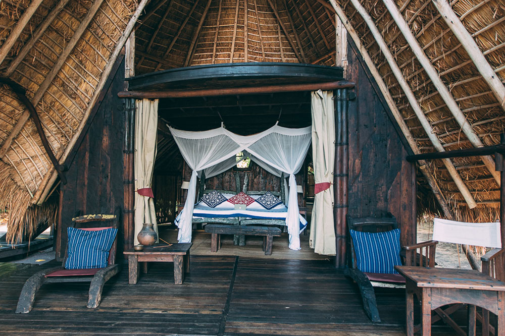 The interior of a room at Greystoke Mahale in Mahale Mountains National Park in Tanzania