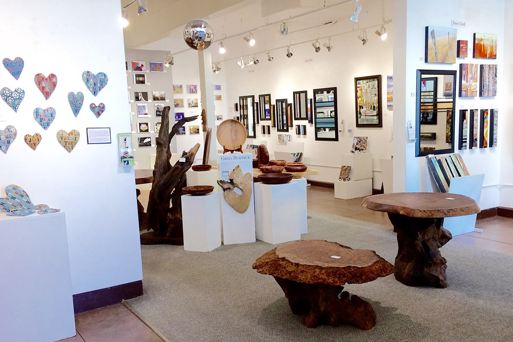 The interior of Edgewater Gallery, Fort Bragg, California