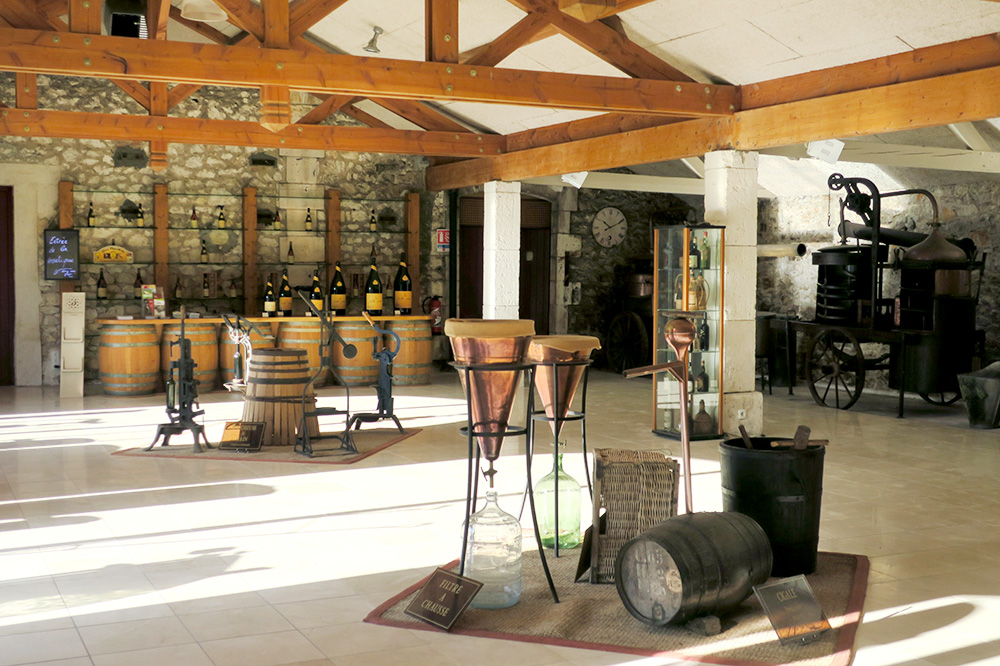 The interior of the museum at Distillerie Louis Roque in Souillac, France - Photo by Hideaway Report editor