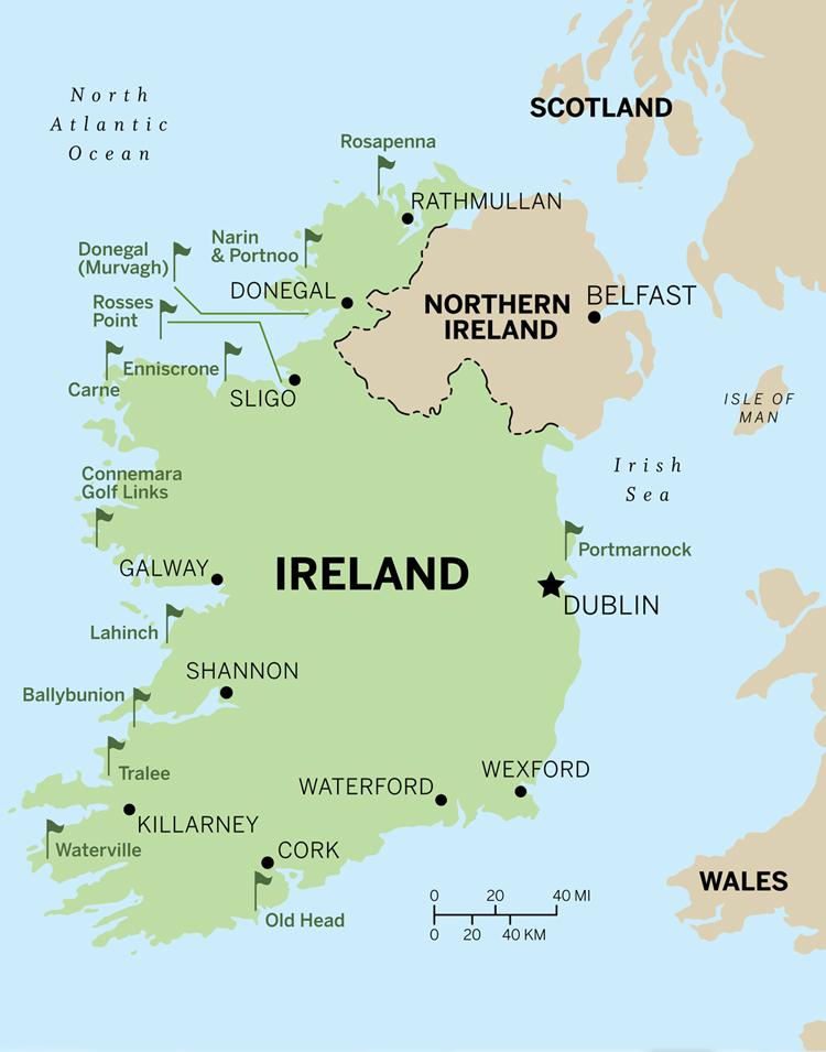 Map Of North West Ireland.Golf In Northwest Ireland