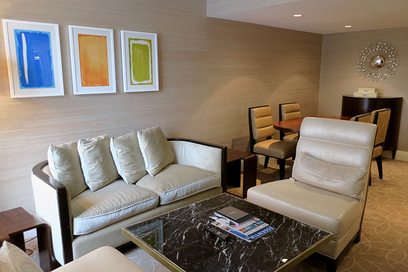Living room in our Junior Suite at Rosewood Hotel Georgia