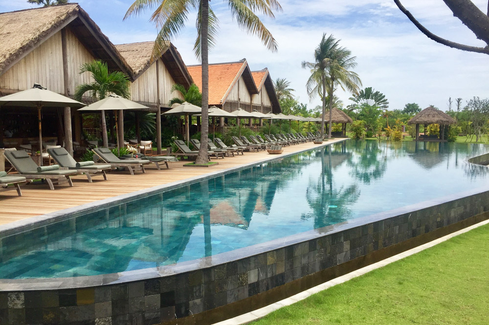 The pool deck at Phum Baitang in Siem Reap - Photo by Kristen Remeza
