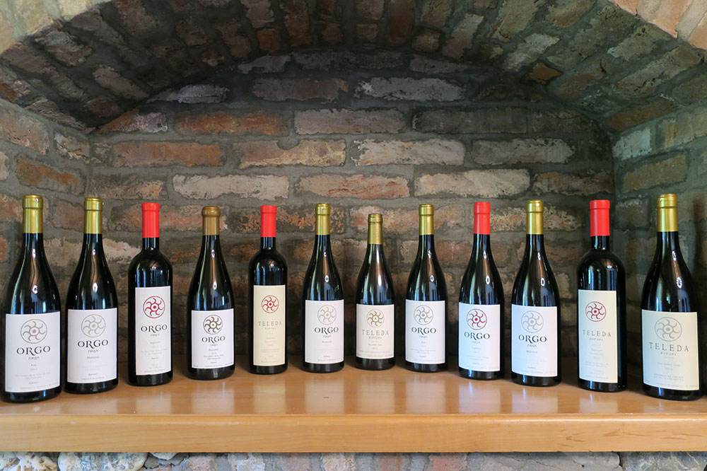 Bottles of wine from Orgo winery in Telavi