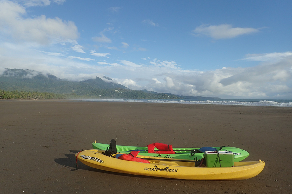 Our kayaks on the beach in Marino Ballena National Park, Costa Rica