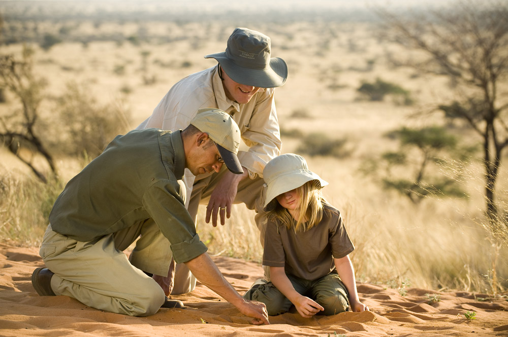 Tracking with kids at Tswalu Kalahari